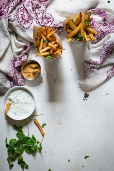Indian-Spiced Frites with Cucumber Cilantro Raita from Chocolate and Marrow