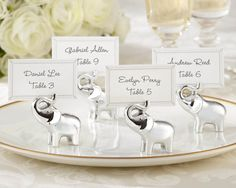 free shipping silver baby elephant place card holders wedding decoration party supplies set of 8