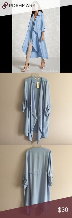 NWT Super Cute Blue Duster 🌊 Brand New With Tags! Woman's Large. First Photo Is A Similar Duster But Not Exact. Would Look Good Over Slips, Distressed Jeans & Awesome For Layering! Very Well Made. *Similar to Z A R A* Brand is Impressions Zara Sweaters Cardigans