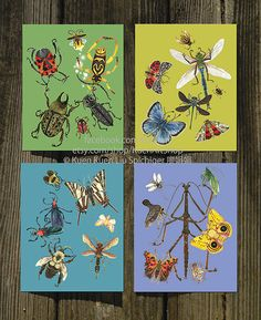 ABC Insect Alphabet Posters/Prints/Cards Set of 4 by KuenArtShop