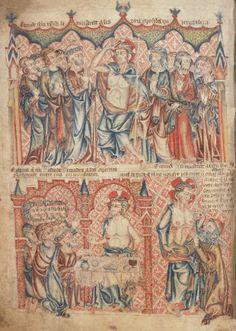 Явление Христа по Воскресении ученикам своим в Иерусалиме. Уверение Фомы; Англия; XIV в.; памятник: Библия (Bible ('Holkham Bible Picture Book'). 1327-1335гг.