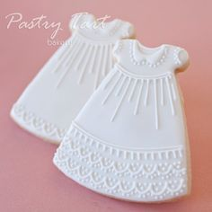 Items similar to Christening Gown Dress Vintage Lace Cookie Favors - 1 doz. - Baby Shower Baptism Baby Girl on Etsy Baby Cookies, Flower Cookies, Baby Shower Cookies, Royal Icing Cookies, Birthday Cookies, Cupcake Cookies, Sugar Cookies, Cookie Favors, Cookie Bouquet