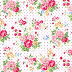 Red on White Floral on Dots Pam Kitty Floral for Lakehouse Fabrics LH12064ROW. $5.30, via Etsy.