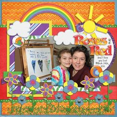 Love all the color on this page.  Digital Scrapbooking layout created with Chase Away the Rain by Mad Genius Designs