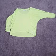 Yoga Crop Top Neon yellow loose crop top, perfect for yoga and lounging, low to high hem, pairs nicely with a pair of joggers Forever 21 Tops Crop Tops