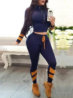 Contrast Stripes Drawstring Sporty Tracksuits Women's Best Online Shopping - Offering Huge Discounts on Dresses, Lingerie , Jumpsuits , Swimwear, Tops and More. Cute Summer Outfits, Cute Outfits, Leg Of Mutton Sleeve, Vetement Fashion, Pantsuits For Women, Fashion Outfits, Fashion Trends, Fashion Clothes, Style Fashion