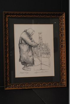 """Seymour Rosenthal, American (1921 - ), Pencil Signed Lithograph Pretzel Lady, 18.5""""x22.5,"""" framed."""