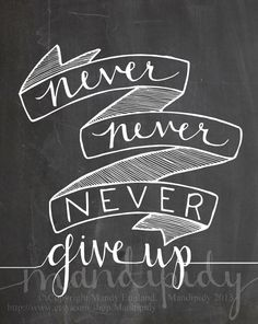 Never Give Up - Winston Churchill Quote - Vintage Chalkboard Typography by Mandipidy