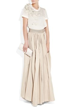 Bow-embellished silk T-shirt and Taffeta maxi skirt