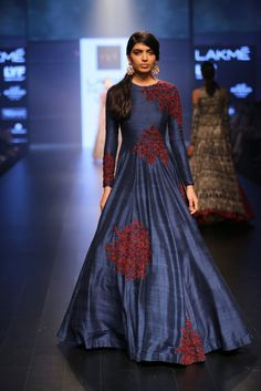 Cobalt Blue Evening Gown with Red Thread Work Design