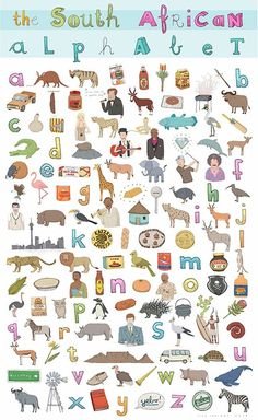 South African Alphabet by Alex Latimer. A perfect overview of South African cult… South African Alphabet by Alex Latimer. A perfect overview of South African culture for expat kids living abroad. Alphabet Poster, South African Design, South African Art, Out Of Africa, Thinking Day, African Men Fashion, African Culture, Afrikaans, Art For Kids
