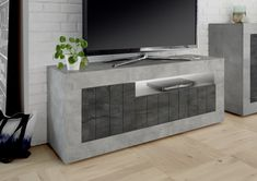 Como Three Door TV Unit - Grey and Anthracite Finish Contemporary Leather Sofa, Contemporary Furniture, Built In Tv Unit, Tv Vintage, Tv Unit Design, Small Doors, Media Unit, Home Additions, Cement