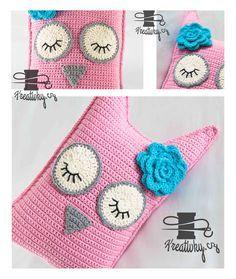 český návod na háčkovaný polštář sova Crochet Toys, Crochet Baby, Knit Crochet, C2c, Crochet Fashion, Crochet Necklace, Kawaii, Homemade, Blanket