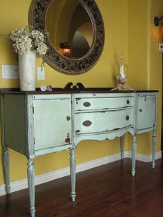 love this look.....looks like my buffet...think I will paint mine to look like this