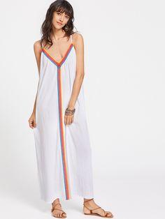 de con estilo Vestido ribete camisola encaje con ojetes blancos R6ZPqZI
