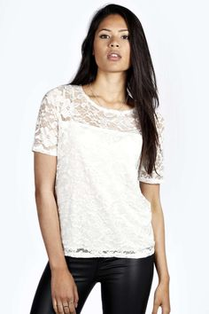 Cerys All Over Lace Boxy Shell Top | boohoo