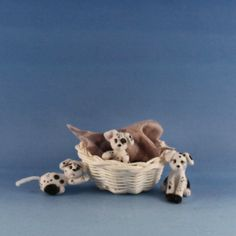OOAK~Dalmatian Puppy Dogs~Dollhouse Baby Toy~Sculpture~Artist Doll~Cheryl Brown #CherylBrown