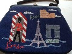Vintage Needlepoint travel handbag