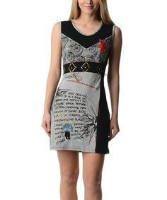 Another great find on #zulily! Gray & Black Embellished Scoop Neck Dress by Style NY #zulilyfinds