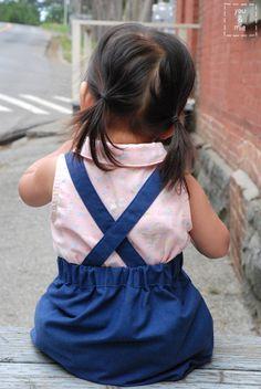 FREE Kids Suspender Skirt Sewing Pattern and Tutorial