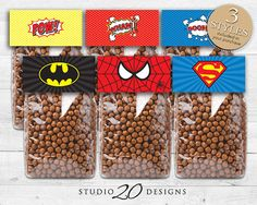 Instant Download, Superhero Treat Bag Toppers, Printable Candy Toppers, Comic Book Tent Cards, Superman Batman Spiderman, Boy Birthday 23A