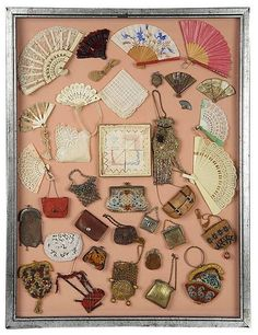 Lot: Framed Collection of Victorian Accessories for Lady Dolls Antique Quilts, Antique Toys, Vintage Quilts, Fabric Dolls, Paper Dolls, Art Dolls, Victorian Toys, Crochet Dolls, Crochet Baby