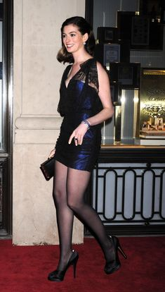 Anne Hathaway sexy dress with sheer black pantyhose and heels Pantyhose Outfits, In Pantyhose, Nylons, Clubbing Outfits, Sexy Outfits, Anne Hathaway Legs, Karen Mcdougal, Pantyhosed Legs, Sexy Legs And Heels