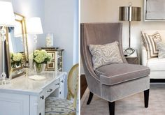 right image, soft grey and cream with metallic