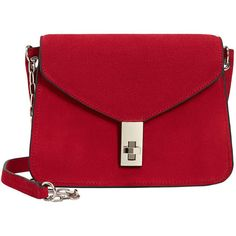 Chain Suede Bag (57.965 COP) ❤ liked on Polyvore featuring bags, handbags, bolsas, purses, red purse, chain handbags, red suede purse, hand bags and chain handle handbags