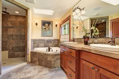 casual design in grey tiles and cherry wood