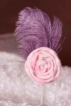 Newborn feathered headband with pink rosette by Le Demoiselle, $12.00