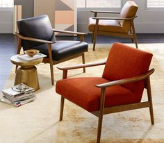 West Elm: Mid-Century Leather Show Wood Chair Poltrona Design, Furniture Decor, Furniture Design, Wood Chair Design, Mid Century Armchair, Velvet Armchair, Home And Deco, Upholstered Chairs, Chair Cushions