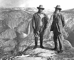 "Roosevelt and John Muir on Glacier Point in Yosemite in 1906 – one of the historic moments in the evolution of the National Park Service captured in ""America's Best Idea."" National Park Service Historic Photograph Collection"