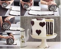 This Chocolate Stripe Cake is so gorgeous and delicious as well .It's made with a chocolate roulade, vanilla cake for the base and top and buttercream to Food Cakes, Cupcake Cakes, Chocolate Roulade, Chocolate Cake, Marble Chocolate, Delicious Chocolate, Gorgeous Cakes, Amazing Cakes, Chocolates