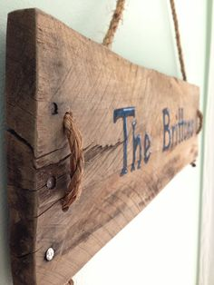 Pallet board personalized hanging sign repurposed by GiveTake, $40.00