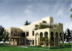 item265223.gif (1600×1143) Islamic Architecture, Architecture Plan, Villa Design, House Design, Indoor Garden, Indoor Outdoor, Mediterranean Architecture, Curved Walls, Arabic Design