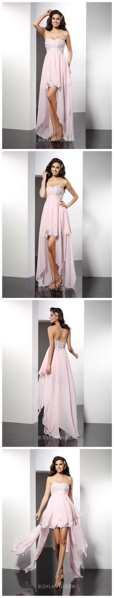 A-Line/Princess Sleeveless Sweetheart Chiffon Applique Asymmetrical Prom Dresses Let's go to dance with it.