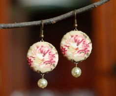 Dangle Earrings - Antique Roses with Pearls - Pink Beige Tan and Green Romantic Fabric Covered Buttons Earrings by PatchworkMillJewelry on Etsy