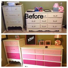 DIY nursery furniture.  I found this old, real wood dresser and chest of drawers at the flea market for cheap and just repainted them.  I sanded rough spots to smooth it out but then used sander deglosser from Home Depot to help keep the paint from peeling. It is cheap and so much easier than sanding.