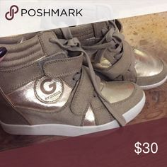G by Guess high top wedges Never worn! Brand new with out tag! Wedge height 3 inches. G by Guess Shoes Sneakers