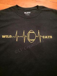 Custom Team Logo Heartbeat Football Shirt School Name by llsocia