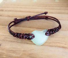 Beach Bum Surfer Bracelet Sea Glass Leather Necklace White