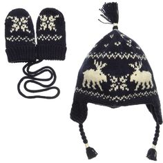 a0441f72f70 Ralph Lauren Blue Nordic Reindeer Knit Baby Hat   Mittens at Childrensalon .com