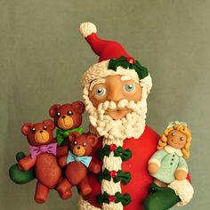 A Piece of Lisa: Goldilocks and the Three Bears Santa Claus Christmas Holidays, Christmas Decorations, Christmas Ornaments, Goldilocks And The Three Bears, Clay Figurine, Hand Painted Rocks, Diy Clay, Gingerbread Man, Tis The Season