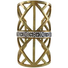 Pre-owned Vintage Gold Geometric Cutout Arm Cuff ($127) ❤ liked on Polyvore featuring jewelry and bracelets