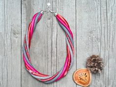 Textile necklace statement necklace eco necklace by Zojanka