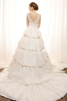 Lace Bateau Applique Empire Tiers Wedding Dress. Click the picture to purchase.