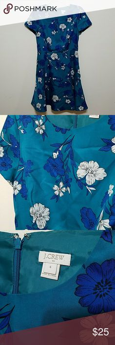 Floral Dress by J CREW Teal and navy floral.  100% polyester but it has a ilk like feel. In excellent condition. J. Crew Dresses