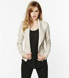 Top off your favourite blouse with this gorgeous vanilla faux leather blazer.