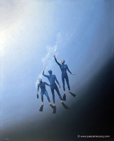 """CHAMPAGNE -oil on canvas by Pascal Lecocq The Painter of Blue  24""""x20"""" 61 x 50 cm 1997 lec466 priv.coll. Paris France pascal lecocq #champagne #bubbles #freediving#art #blue #painterofblue #painting #painter #artist #contemporaryartcurator #artstack #artcartridge #artcollectae #glarify #theartdex #in #pint."""